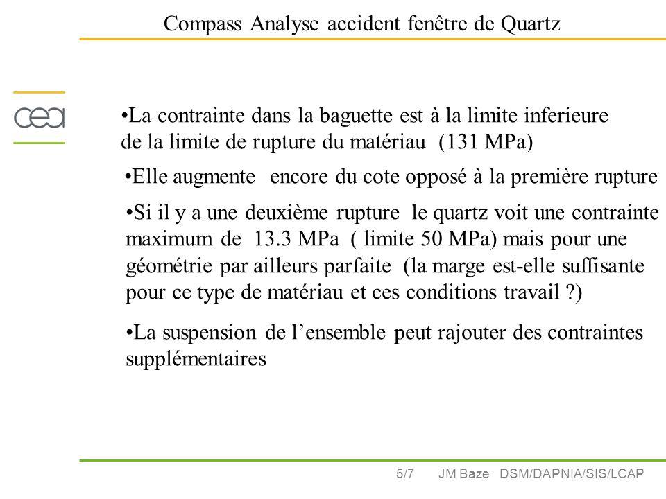 5/7 Compass Analyse accident fenêtre de Quartz JM Baze DSM/DAPNIA/SIS/LCAP La contrainte dans la baguette est à la limite inferieure de la limite de rupture du matériau (131 MPa) Elle augmente encore du cote opposé à la première rupture Si il y a une deuxième rupture le quartz voit une contrainte maximum de 13.3 MPa ( limite 50 MPa) mais pour une géométrie par ailleurs parfaite (la marge est-elle suffisante pour ce type de matériau et ces conditions travail ) La suspension de l'ensemble peut rajouter des contraintes supplémentaires