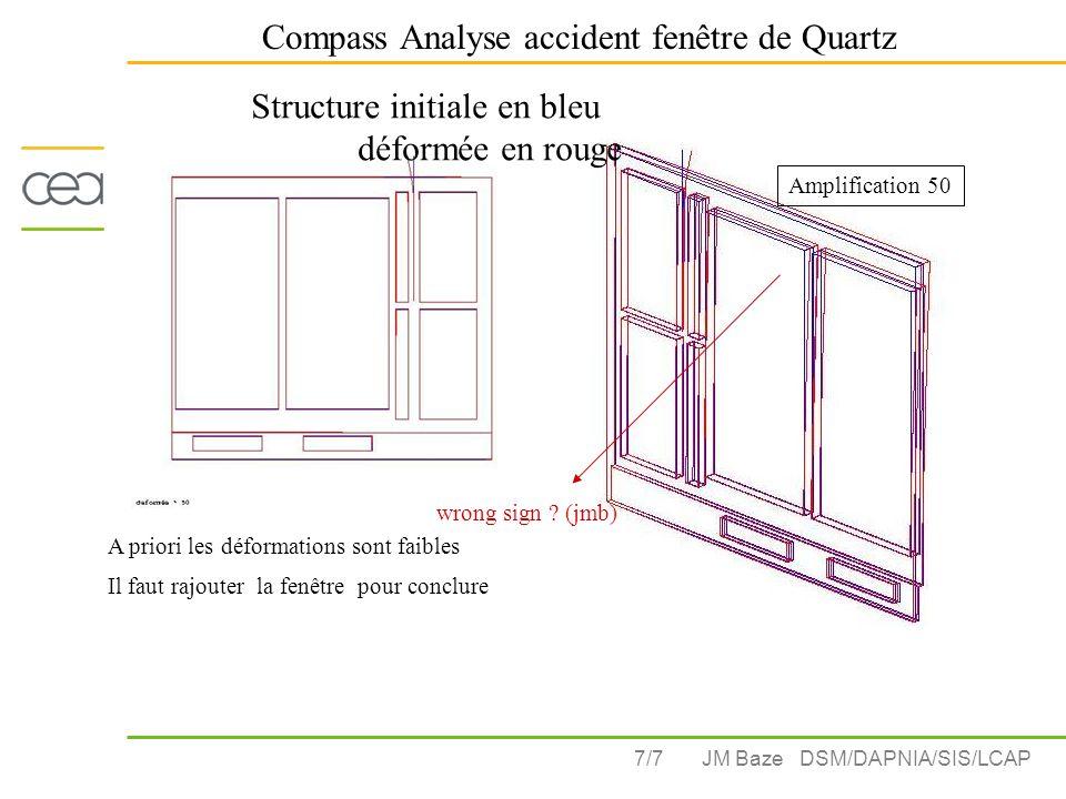 7/7 Compass Analyse accident fenêtre de Quartz JM Baze DSM/DAPNIA/SIS/LCAP Amplification 50 A priori les déformations sont faibles Il faut rajouter la fenêtre pour conclure Structure initiale en bleu déformée en rouge wrong sign .