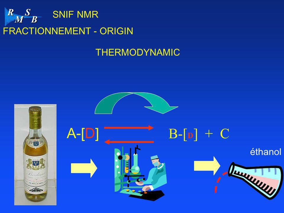 R M S B SNIF NMR A-[D] B-[ D ] + C THERMODYNAMIC FRACTIONNEMENT - ORIGIN éthanol