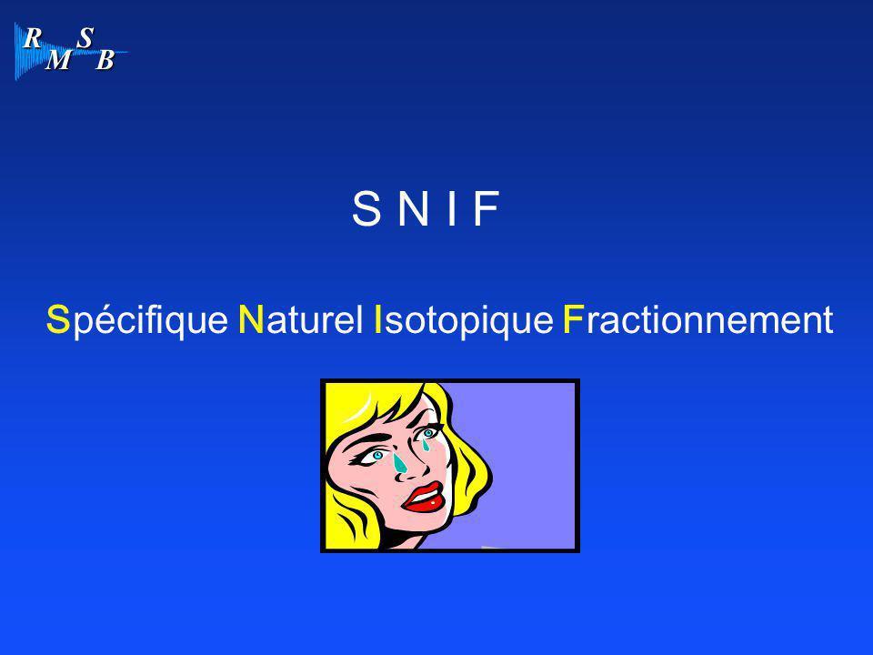 R M S B Spécifique Naturel Isotopique Fractionnement S N I F