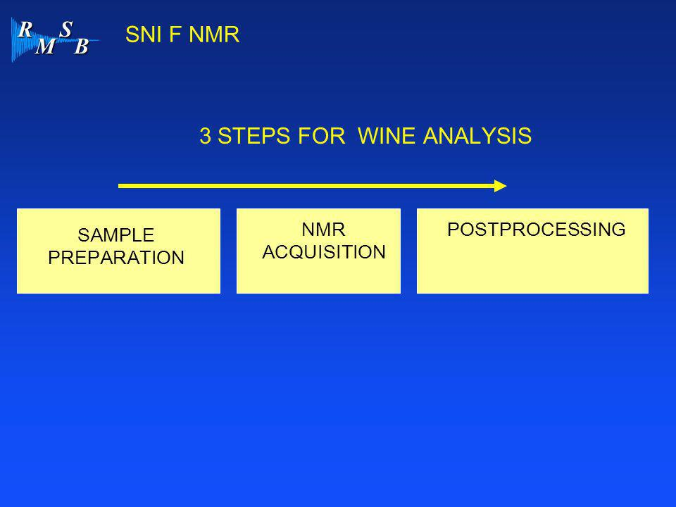 R M S B SNI F NMR 3 STEPS FOR WINE ANALYSIS SAMPLE PREPARATION NMR ACQUISITION POSTPROCESSING