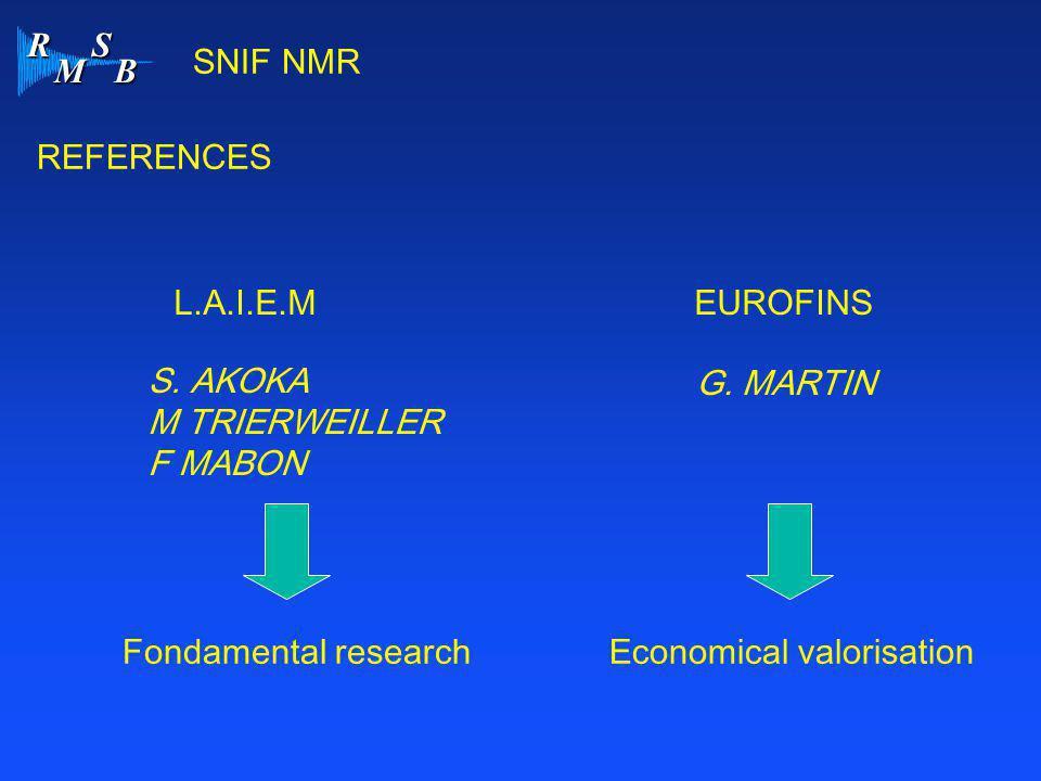 R M S B SNIF NMR REFERENCES L.A.I.E.MEUROFINS S. AKOKA M TRIERWEILLER F MABON Fondamental researchEconomical valorisation G. MARTIN