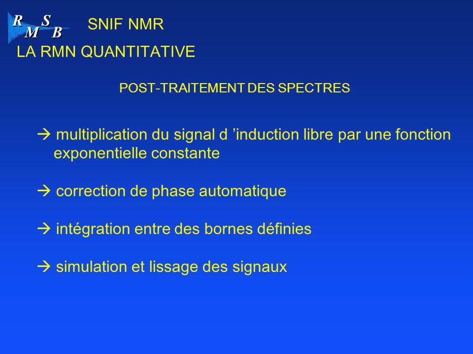 R M S B SNIF NMR LA RMN QUANTITATIVE POST-TRAITEMENT DES SPECTRES  multiplication du signal d 'induction libre par une fonction exponentielle constan