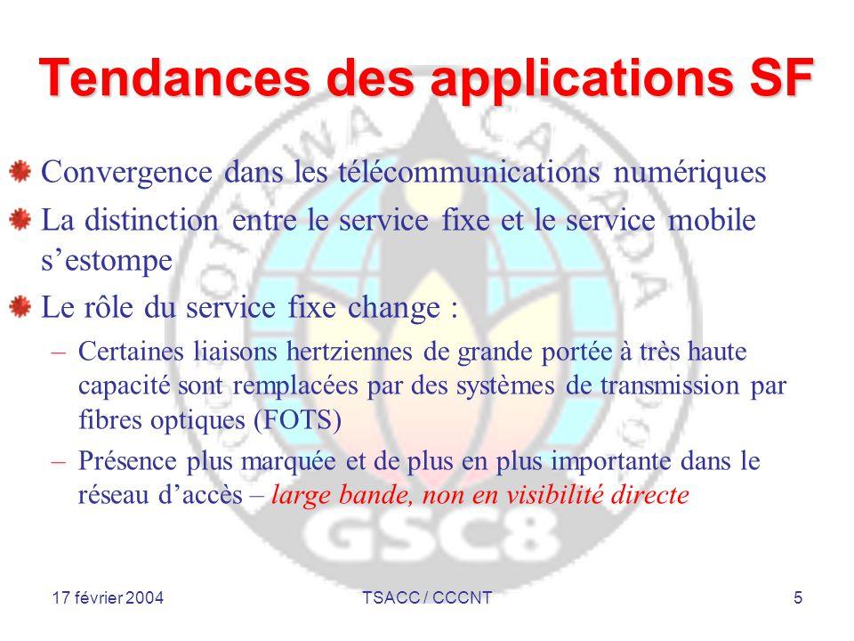 17 février 2004TSACC / CCCNT6 Applications commerciales SF Applications commerciales SF Service fixe Applications commerciales Réseaux de transport ou de liaison Applications de raccordement Accès fixe sans fil Applications d'horizon