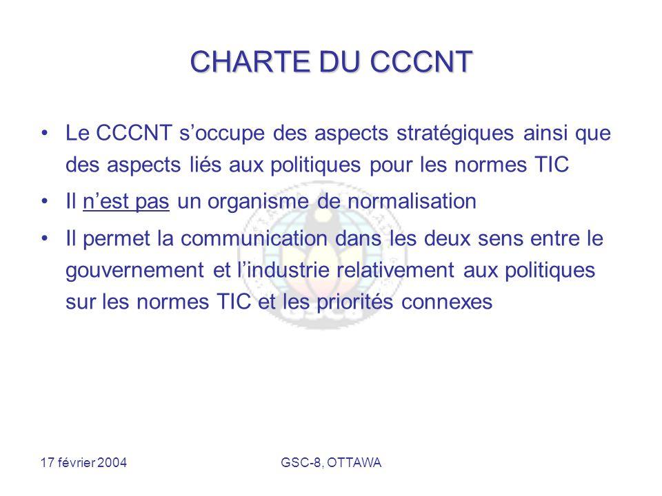 17 février 2004GSC-8, OTTAWA CHARTE DU CCCNT Le CCCNT s'occupe des aspects stratégiques ainsi que des aspects liés aux politiques pour les normes TIC