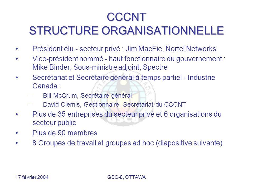 17 février 2004GSC-8, OTTAWA CCCNT STRUCTURE ORGANISATIONNELLE Président élu - secteur privé : Jim MacFie, Nortel Networks Vice-président nommé - haut