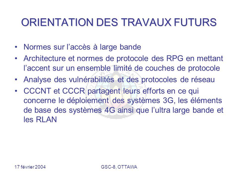17 février 2004GSC-8, OTTAWA ORIENTATION DES TRAVAUX FUTURS Normes sur l'accès à large bande Architecture et normes de protocole des RPG en mettant l'