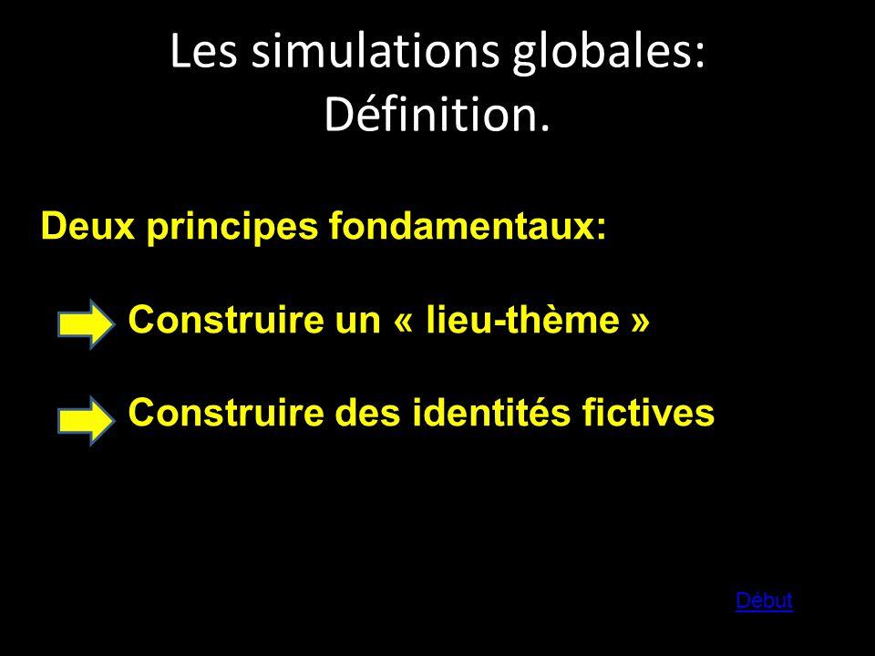 Les simulations globales: Définition. Deux principes fondamentaux: Construire un « lieu-thème » Construire des identités fictives Début