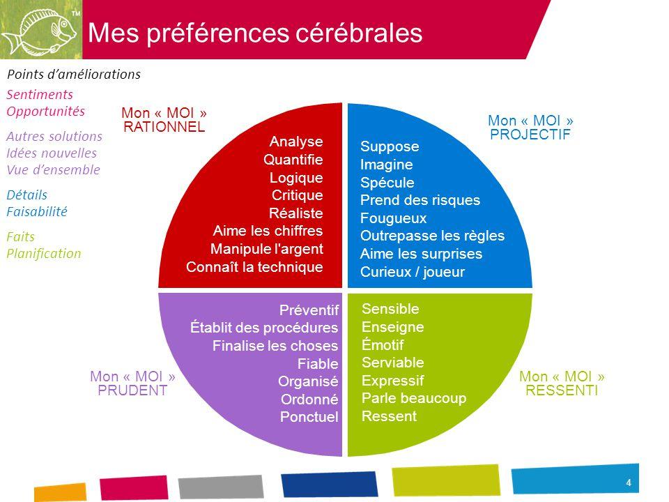 5 Mes préférences cérébrales MA (MES) PRÉFÉRENCE(S) CÉRÉBRALE(S) DOMINANTE(S) LES POINTS FORTS QUE JE PEUX EXPLOITER LIÉS À MA PRÉFÉRENCE CÉRÉBRALE MES AXES DE PROGRÈS À DÉVELOPPER COMMENTAIRES PERSONNELS
