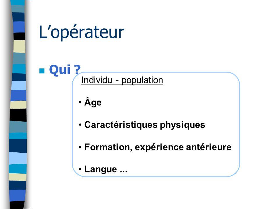Individu - population Âge Caractéristiques physiques Formation, expérience antérieure Langue... L'opérateur n Qui ?