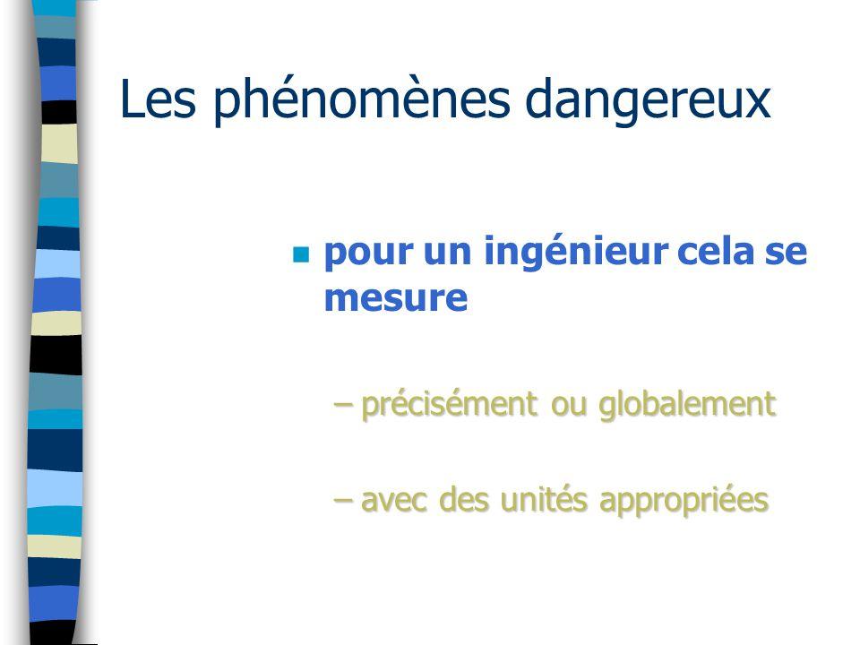 Les phénomènes dangereux n pour un ingénieur cela se mesure –précisément ou globalement –avec des unités appropriées