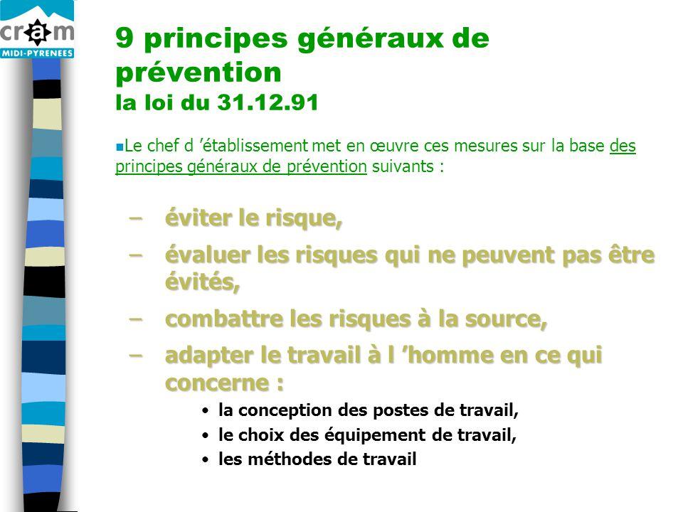9 principes généraux de prévention la loi du 31.12.91 n Le chef d 'établissement met en œuvre ces mesures sur la base des principes généraux de préven