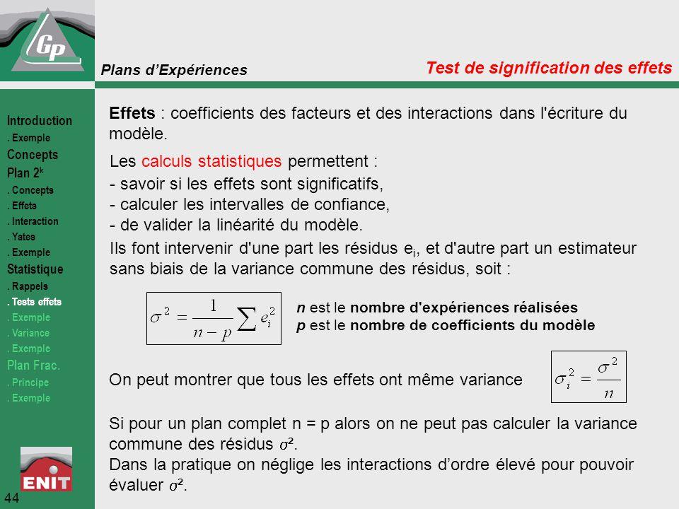 Plans d'Expériences 44 Test de signification des effets Effets : coefficients des facteurs et des interactions dans l'écriture du modèle. Les calculs