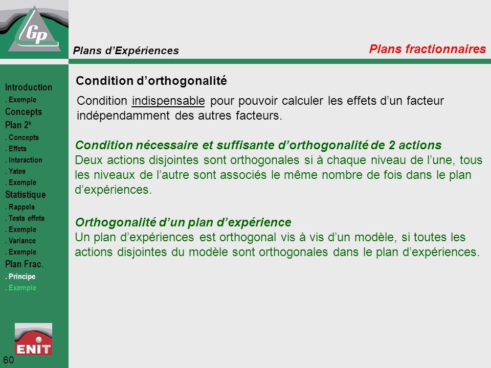 Plans d'Expériences 60 Plans fractionnaires Condition d'orthogonalité Condition indispensable pour pouvoir calculer les effets d'un facteur indépendam