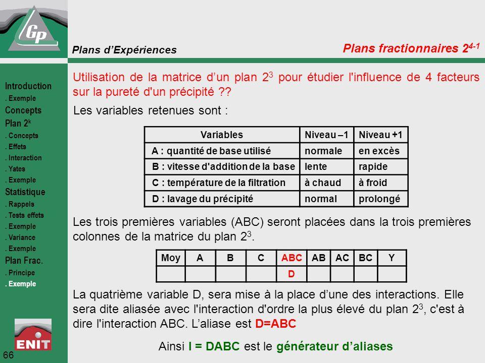 Plans d'Expériences 66 Plans fractionnaires 2 4-1 Utilisation de la matrice d'un plan 2 3 pour étudier l'influence de 4 facteurs sur la pureté d'un pr