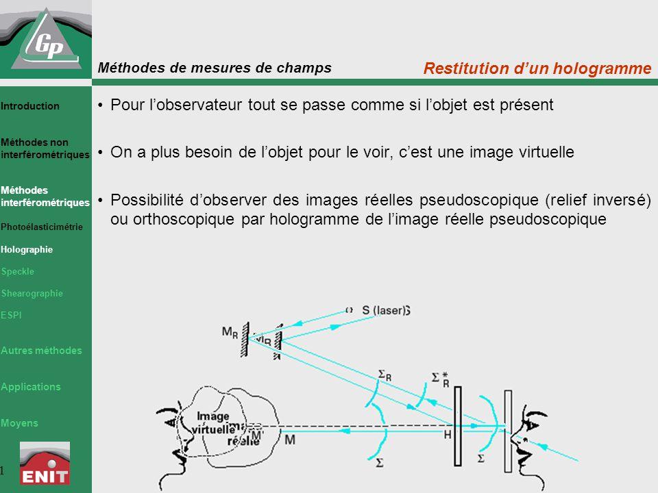 Méthodes de mesures de champs 2 Le principe général consiste à superposer des ondes lumineuses dont une au moins est produite par un hologramme Grâce à l'holographie on est capable de faire interférer des ondes lumineuses provenant d'un même objet se déformant au cours du temps L'état de surface de l'objet ne doit pas se modifier (ou très peu) Les interférences observées sont caractéristiques des déplacements micrométriques subis par l'objet La mesure des interférences permet de quantifier les déplacements avec une sensibilité égale à une fraction de micromètre Interférométrie holographique Introduction Méthodes non interférométriques Méthodes interférométriques Photoélasticimétrie Holographie Speckle Shearographie ESPI Autres méthodes Applications Moyens