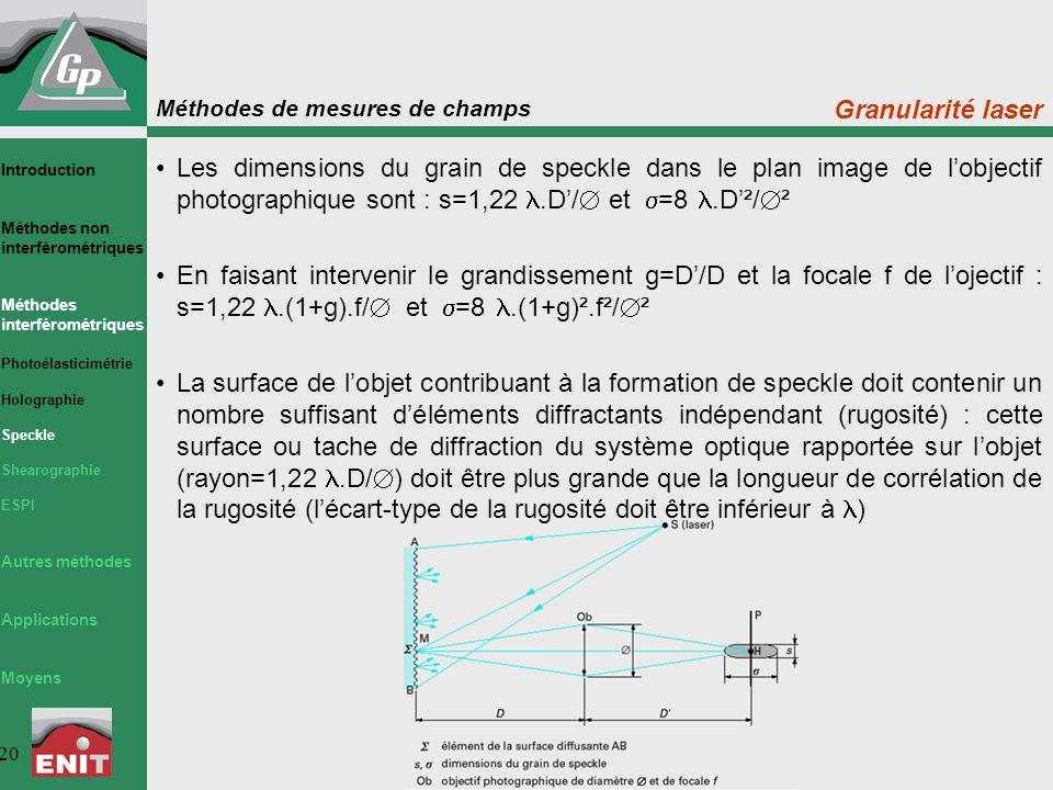 Méthodes de mesures de champs 20 Granularité laser Les dimensions du grain de speckle dans le plan image de l'objectif photographique sont : s=1,22.D'