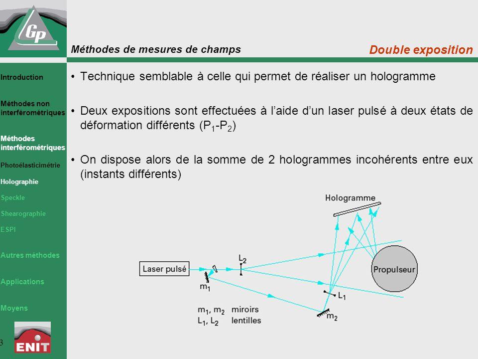Méthodes de mesures de champs 34 Mesure des déplacements 3D La TV-Holographie (ESPI) permet de mesurer les déplacements 3D Le faisceau lumineux issu du laser S est séparé en deux parties par la lame séparatrice SP 1 ; le faisceau réfléchi sert à former le faisceau référence; le faisceau transmis est séparé en deux parties par la lame SP 2 pour former les deux faisceaux d'éclairage E 1 et E 2 Introduction Méthodes non interférométriques Méthodes interférométriques Photoélasticimétrie Holographie Speckle Shearographie ESPI Autres méthodes Applications Moyens