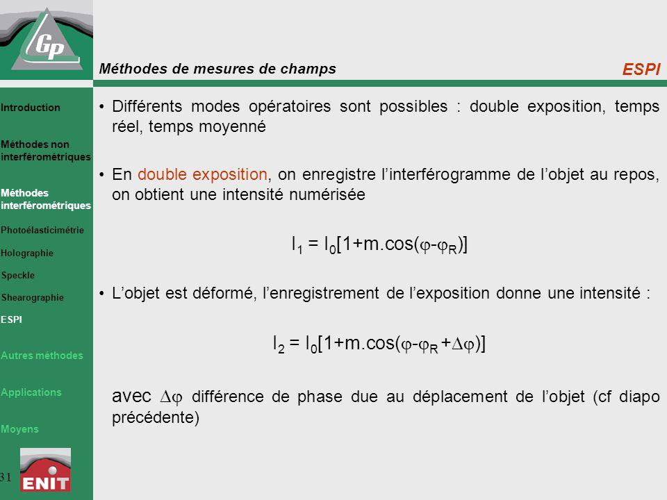 Méthodes de mesures de champs 31 ESPI Différents modes opératoires sont possibles : double exposition, temps réel, temps moyenné En double exposition, on enregistre l'interférogramme de l'objet au repos, on obtient une intensité numérisée I 1 = I 0 [1+m.cos(  -  R )] L'objet est déformé, l'enregistrement de l'exposition donne une intensité : I 2 = I 0 [1+m.cos(  -  R +  )] avec  différence de phase due au déplacement de l'objet (cf diapo précédente) Introduction Méthodes non interférométriques Méthodes interférométriques Photoélasticimétrie Holographie Speckle Shearographie ESPI Autres méthodes Applications Moyens