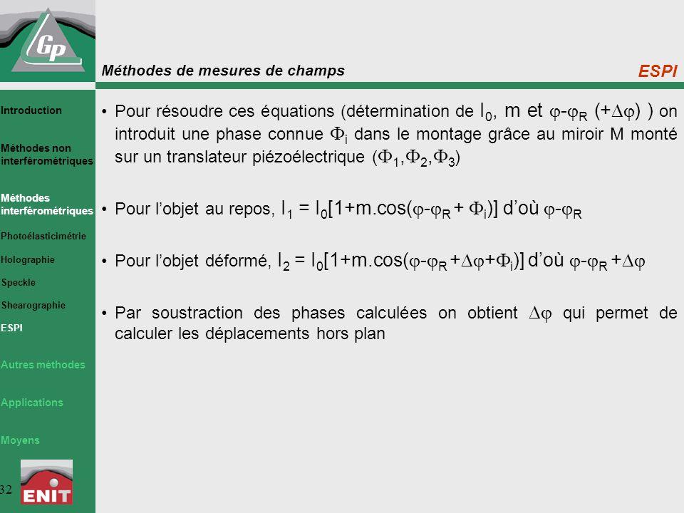 Méthodes de mesures de champs 32 ESPI Pour résoudre ces équations (détermination de I 0, m et  -  R (+  ) ) on introduit une phase connue  i dans le montage grâce au miroir M monté sur un translateur piézoélectrique (  1,  2,  3 ) Pour l'objet au repos, I 1 = I 0 [1+m.cos(  -  R +  i )] d'où  -  R Pour l'objet déformé, I 2 = I 0 [1+m.cos(  -  R +  +  i )] d'où  -  R +  Par soustraction des phases calculées on obtient  qui permet de calculer les déplacements hors plan Introduction Méthodes non interférométriques Méthodes interférométriques Photoélasticimétrie Holographie Speckle Shearographie ESPI Autres méthodes Applications Moyens