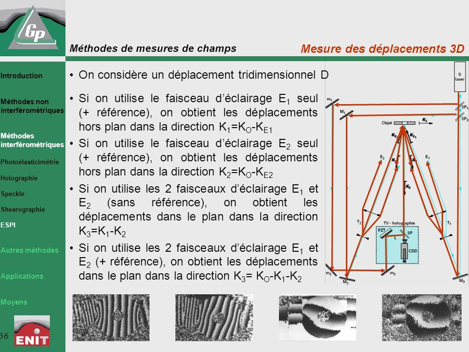 Méthodes de mesures de champs 36 Mesure des déplacements 3D Si on utilise le faisceau d'éclairage E 1 seul (+ référence), on obtient les déplacements hors plan dans la direction K 1 =K O -K E1 Si on utilise le faisceau d'éclairage E 2 seul (+ référence), on obtient les déplacements hors plan dans la direction K 2 =K O -K E2 Si on utilise les 2 faisceaux d'éclairage E 1 et E 2 (sans référence), on obtient les déplacements dans le plan dans la direction K 3 =K 1 -K 2 Si on utilise les 2 faisceaux d'éclairage E 1 et E 2 (+ référence), on obtient les déplacements dans le plan dans la direction K 3 = K O -K 1 -K 2 On considère un déplacement tridimensionnel D Introduction Méthodes non interférométriques Méthodes interférométriques Photoélasticimétrie Holographie Speckle Shearographie ESPI Autres méthodes Applications Moyens