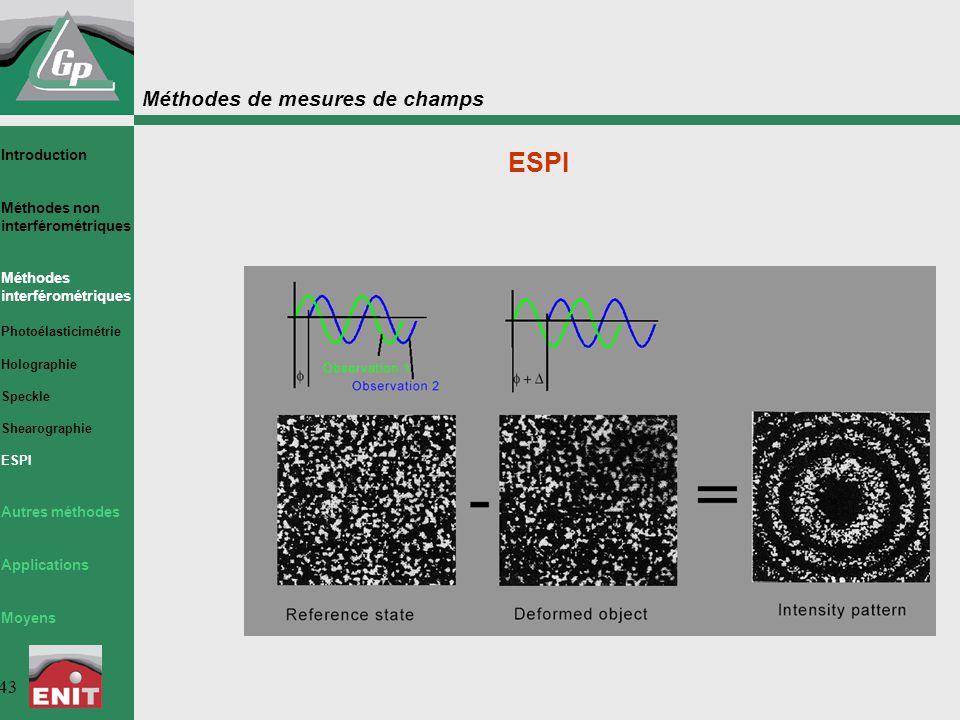 Méthodes de mesures de champs 43 ESPI Introduction Méthodes non interférométriques Méthodes interférométriques Photoélasticimétrie Holographie Speckle Shearographie ESPI Autres méthodes Applications Moyens