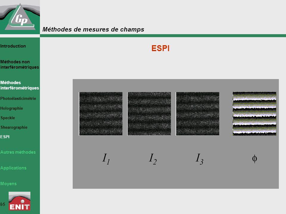 Méthodes de mesures de champs 46 ESPI Introduction Méthodes non interférométriques Méthodes interférométriques Photoélasticimétrie Holographie Speckle Shearographie ESPI Autres méthodes Applications Moyens