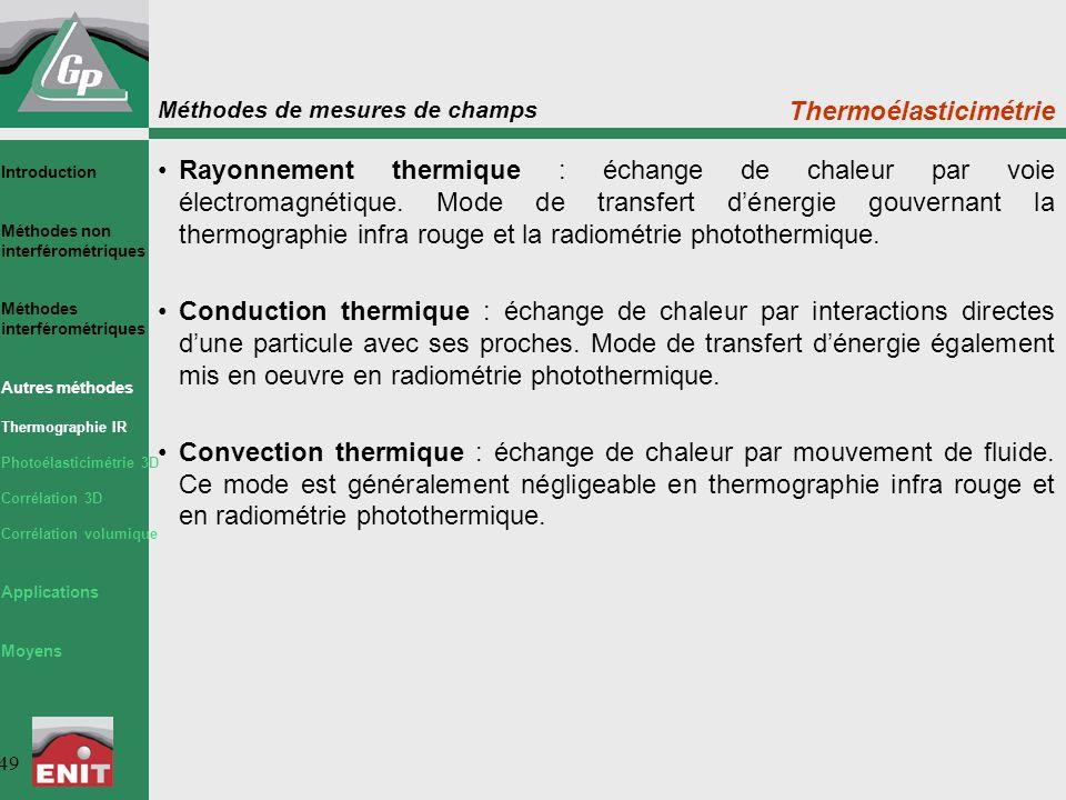 Méthodes de mesures de champs 49 Thermoélasticimétrie Rayonnement thermique : échange de chaleur par voie électromagnétique. Mode de transfert d'énerg