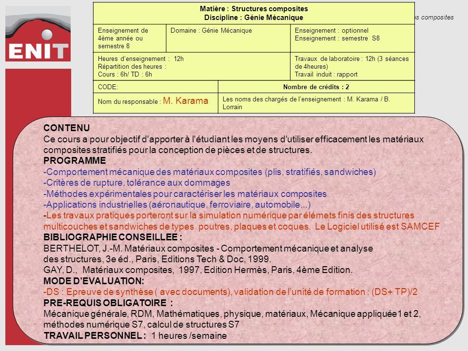 Structures composites Matière : Structures composites Discipline : Génie Mécanique Enseignement de 4ème année ou semestre 8 Domaine : Génie MécaniqueE