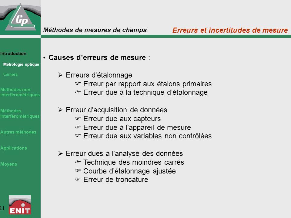 Méthodes de mesures de champs 11 Causes d'erreurs de mesure :  Erreurs d'étalonnage  Erreur par rapport aux étalons primaires  Erreur due à la tech