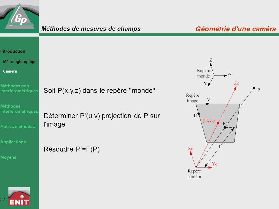 Méthodes de mesures de champs 17 Introduction Métrologie optique Caméra Méthodes non interférométriques Méthodes interférométriques Autres méthodes Ap