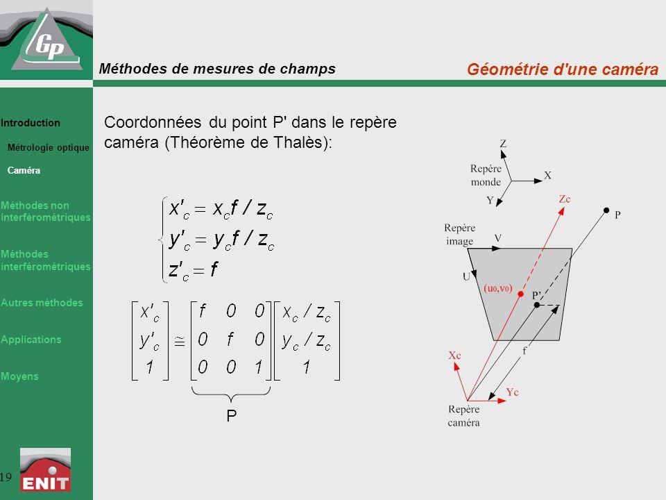 Méthodes de mesures de champs 19 Introduction Métrologie optique Caméra Méthodes non interférométriques Méthodes interférométriques Autres méthodes Ap