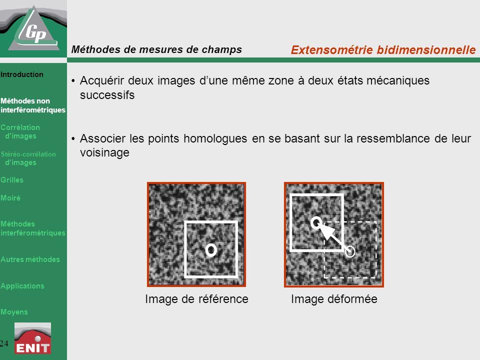 Méthodes de mesures de champs 24 Extensométrie bidimensionnelle Acquérir deux images d'une même zone à deux états mécaniques successifs Associer les p