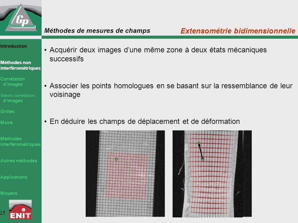 Méthodes de mesures de champs 25 Extensométrie bidimensionnelle Acquérir deux images d'une même zone à deux états mécaniques successifs Associer les p