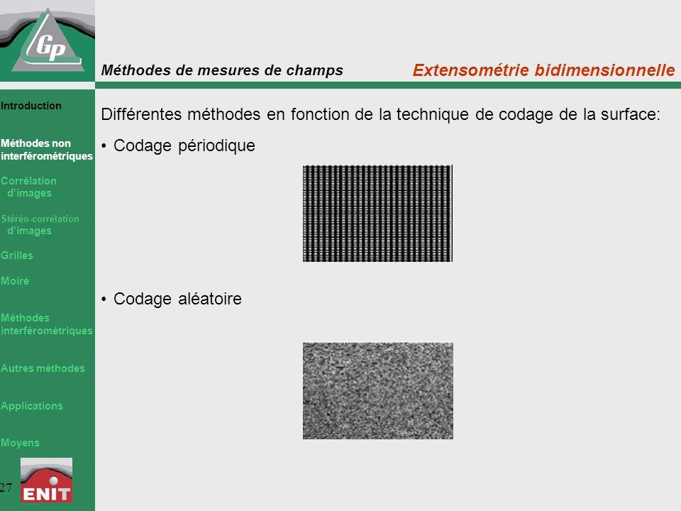 Méthodes de mesures de champs 27 Extensométrie bidimensionnelle Différentes méthodes en fonction de la technique de codage de la surface: Codage pério
