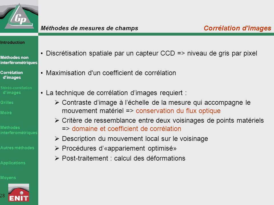 Méthodes de mesures de champs 28 Corrélation d'images Discrétisation spatiale par un capteur CCD => niveau de gris par pixel Maximisation d'un coeffic