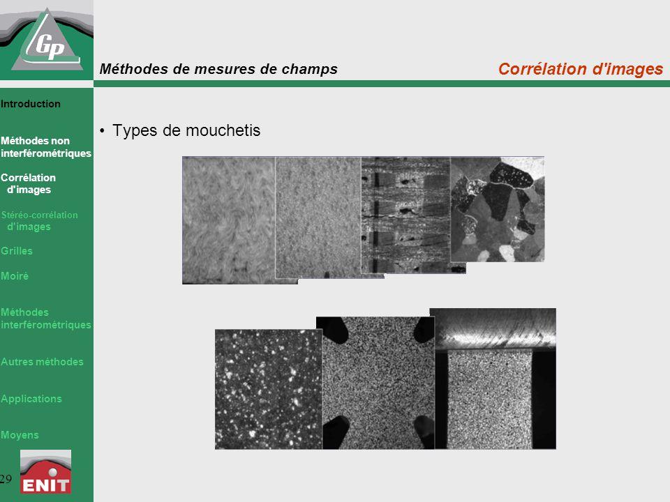 Méthodes de mesures de champs 29 Corrélation d'images Types de mouchetis Introduction Méthodes non interférométriques Corrélation d'images Stéréo-corr