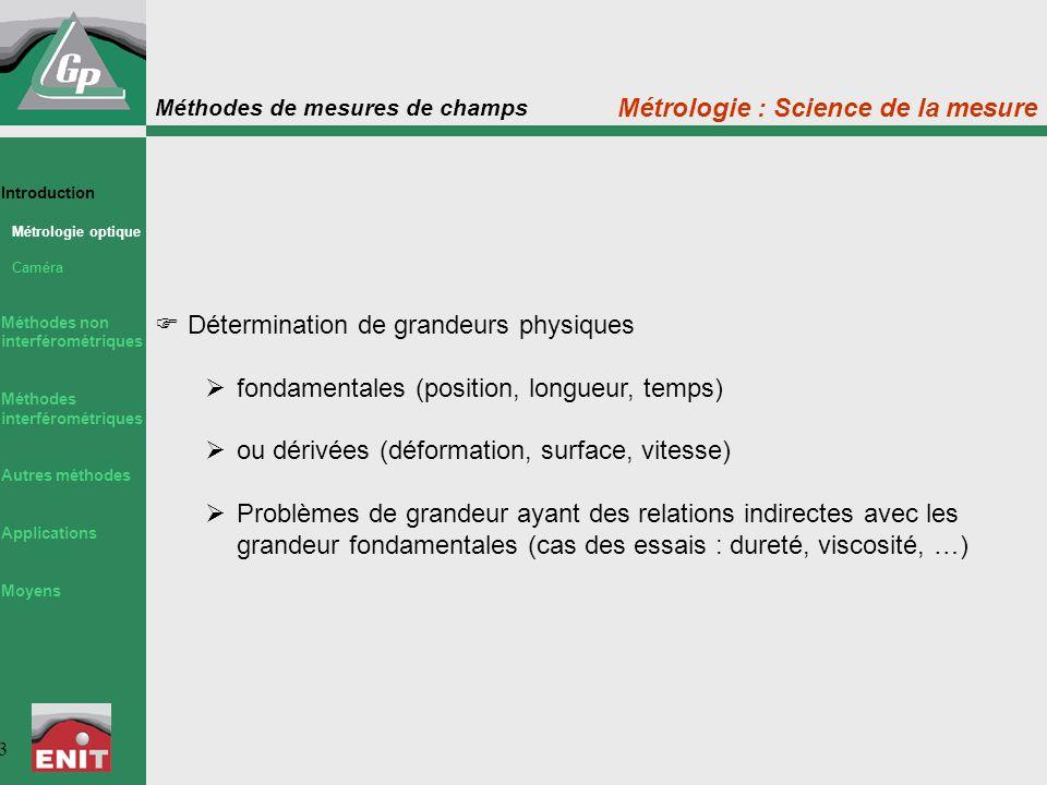 Méthodes de mesures de champs 3  Détermination de grandeurs physiques  fondamentales (position, longueur, temps)  ou dérivées (déformation, surface