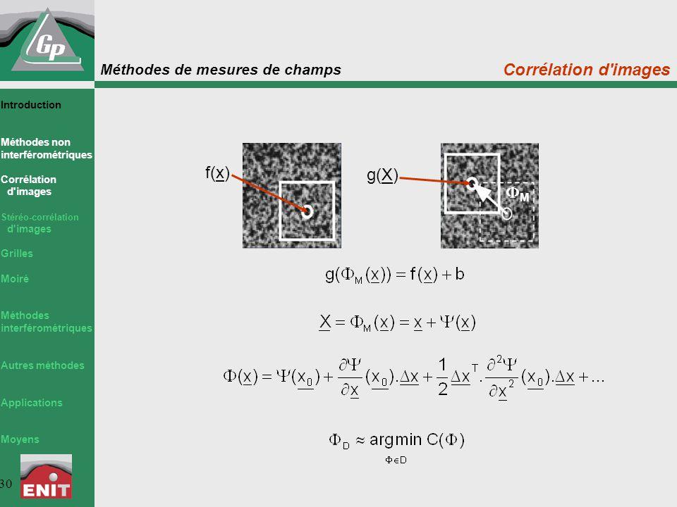 Méthodes de mesures de champs 30 Corrélation d'images f(x) g(X) MM Introduction Méthodes non interférométriques Corrélation d'images Stéréo-corrélat