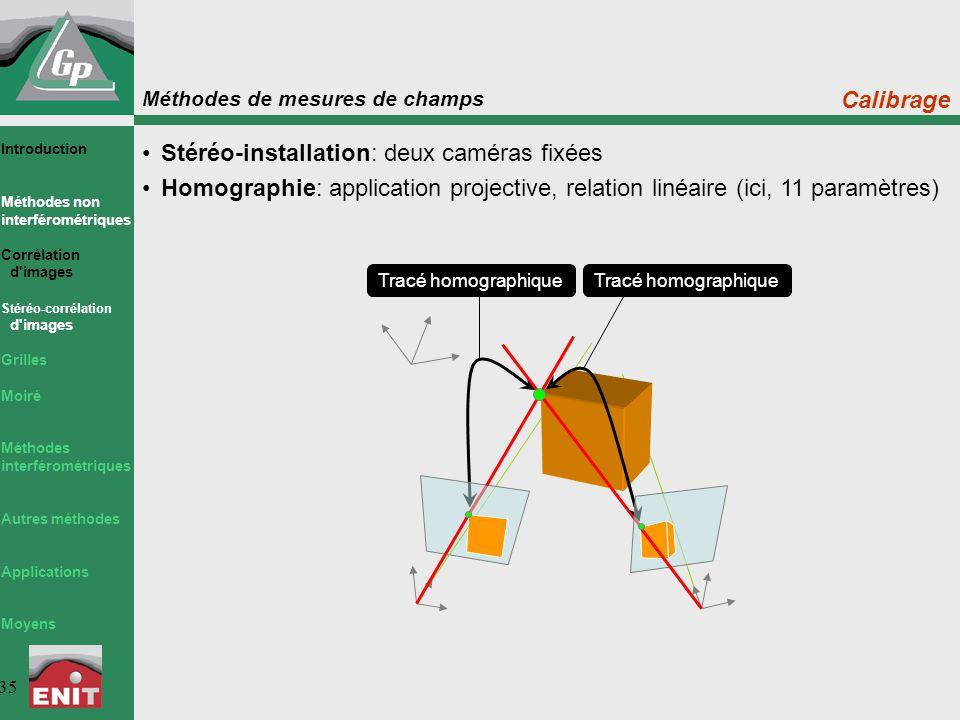 Méthodes de mesures de champs 35 Stéréo-installation: deux caméras fixées Homographie: application projective, relation linéaire (ici, 11 paramètres)