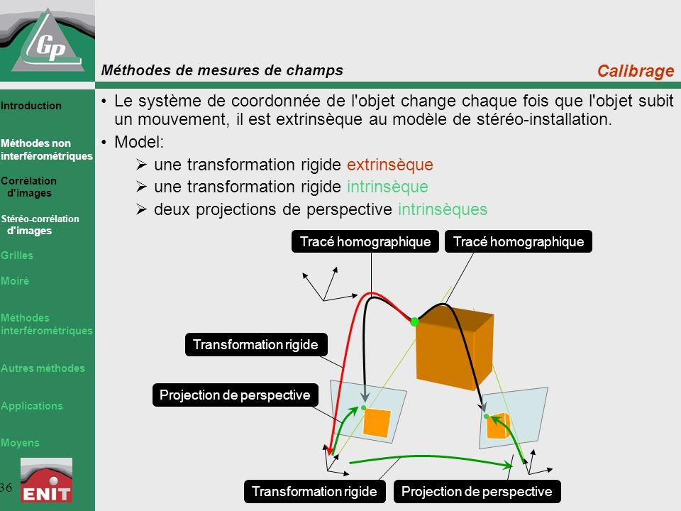 Méthodes de mesures de champs 36 Tracé homographique Le système de coordonnée de l'objet change chaque fois que l'objet subit un mouvement, il est ext