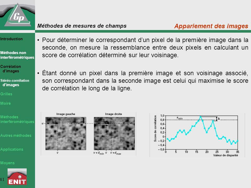 Méthodes de mesures de champs 41 Appariement des images Pour déterminer le correspondant d'un pixel de la première image dans la seconde, on mesure la