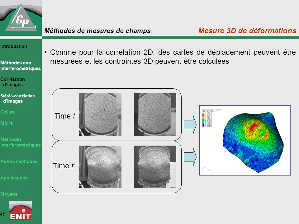 Méthodes de mesures de champs 46 Time t Comme pour la corrélation 2D, des cartes de déplacement peuvent être mesurées et les contraintes 3D peuvent êt