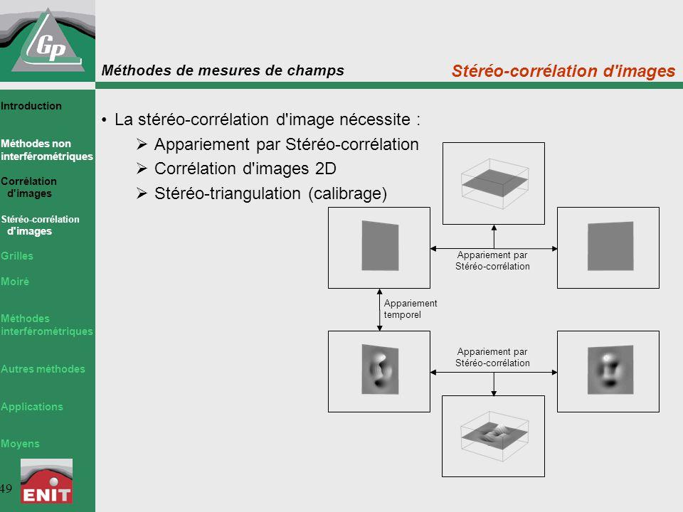 Méthodes de mesures de champs 49 La stéréo-corrélation d'image nécessite :  Appariement par Stéréo-corrélation  Corrélation d'images 2D  Stéréo-tri