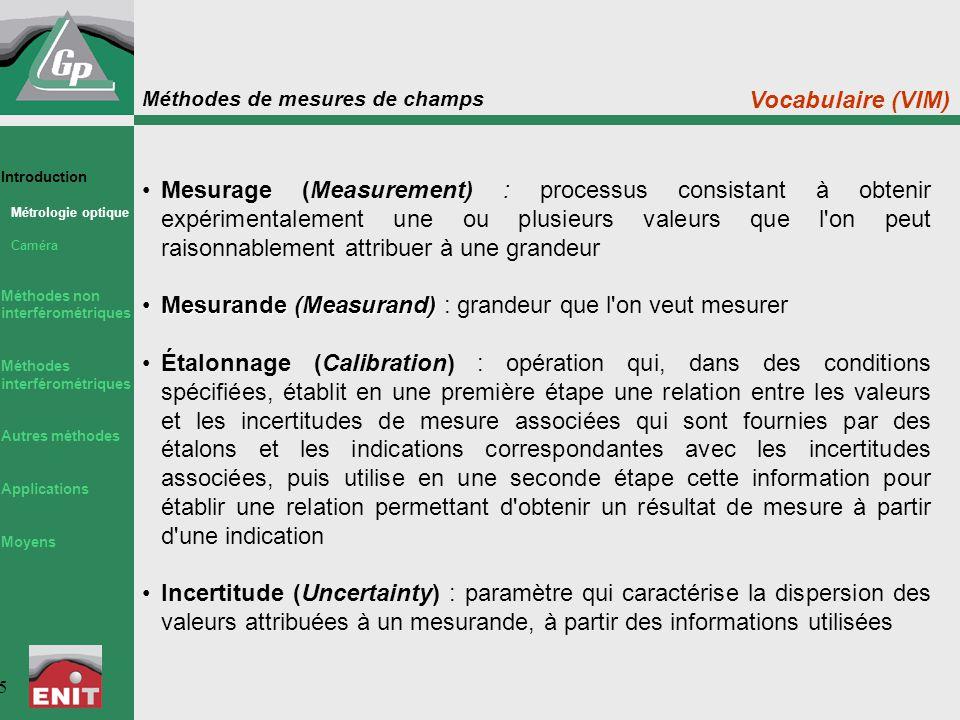 Méthodes de mesures de champs 5 Mesurage (Measurement) : processus consistant à obtenir expérimentalement une ou plusieurs valeurs que l'on peut raiso