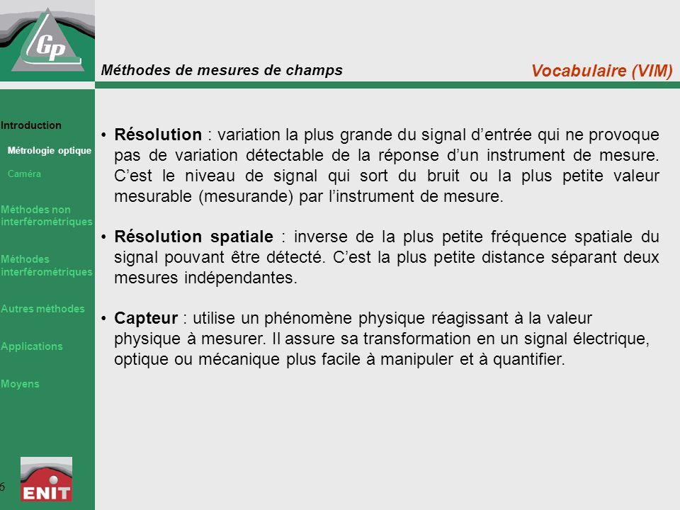 Méthodes de mesures de champs 6 Résolution : variation la plus grande du signal d'entrée qui ne provoque pas de variation détectable de la réponse d'u