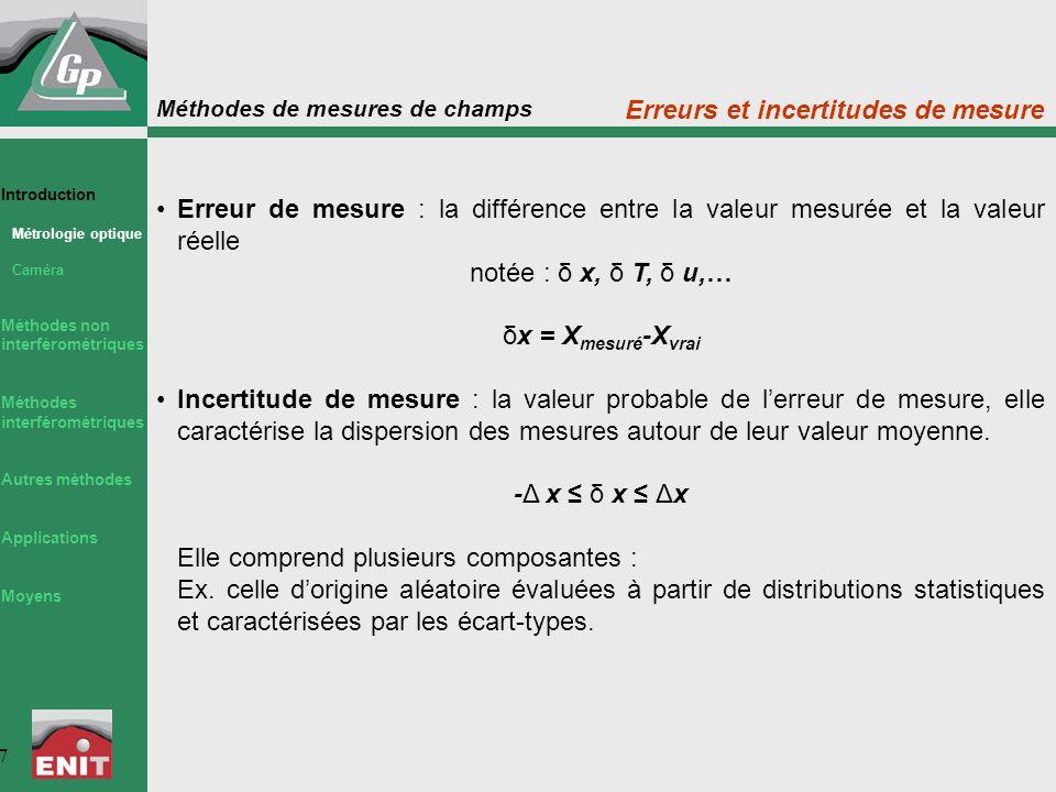 Méthodes de mesures de champs 7 Erreur de mesure : la différence entre la valeur mesurée et la valeur réelle notée : δ x, δ T, δ u,… δx = X mesuré -X