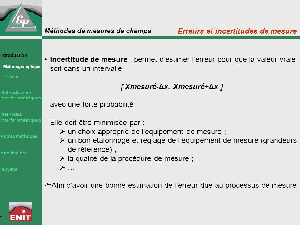 Méthodes de mesures de champs 8 Incertitude de mesure : permet d'estimer l'erreur pour que la valeur vraie soit dans un intervalle [ Xmesuré-Δx, Xmesu