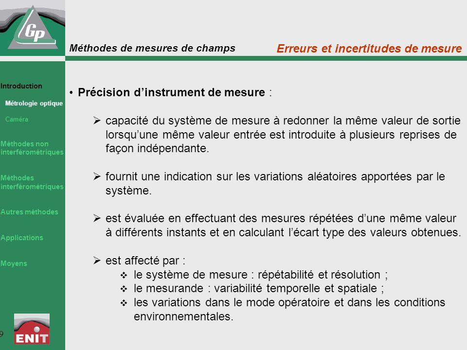Méthodes de mesures de champs 9 Précision d'instrument de mesure :  capacité du système de mesure à redonner la même valeur de sortie lorsqu'une même