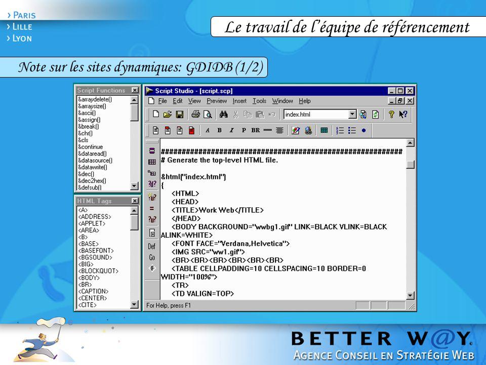 Le travail de l'équipe de référencement Note sur les sites dynamiques: GDIDB (1/2)